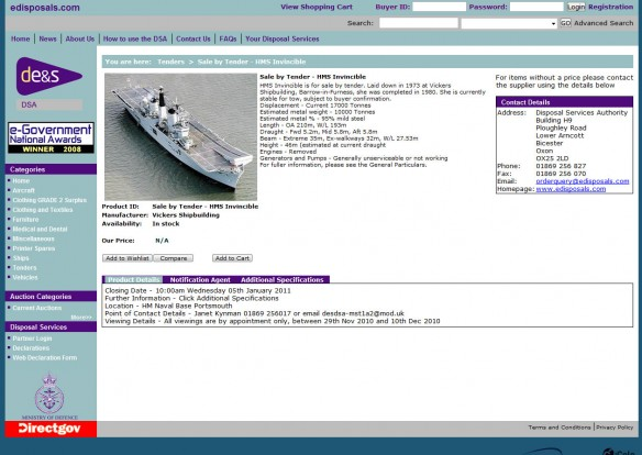 HMS Invincible @ edisposals.com
