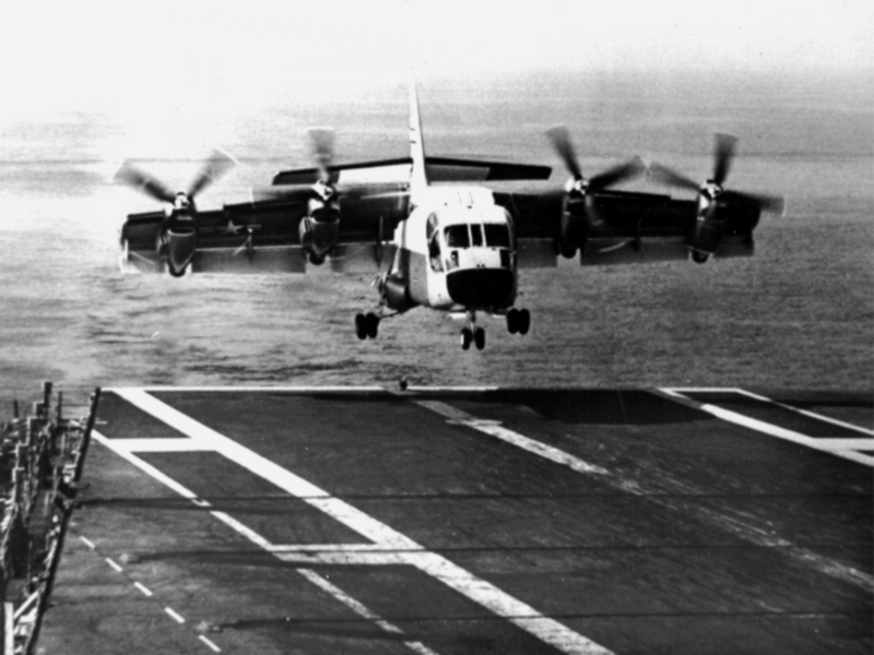 A Ling-Temco-Vought XC-124A landing aboard the U.S. Navy aircraft carrier USS Bennington (CVS-20) off San Diego, California (USA), on 18 May 1966.